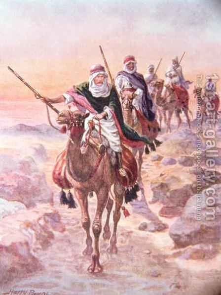 Lord Kitchener, Disguised as an Arab, Riding Across the Desert to Dongola, illustration from Brave Deeds by Brave Men by C. Sheridan Jones, pub. 1922 by Henry A. (Harry) Payne - Reproduction Oil Painting