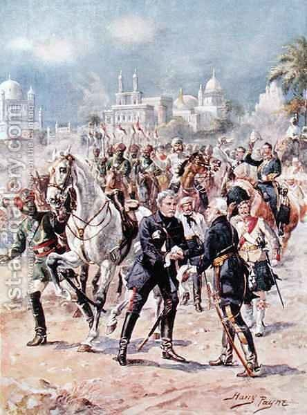 The Meeting of Sir Colin Campbell 1792-1863 and General Outram illustration from Glorious Battles of English History by Major C.H. Wylly, 1920s by Henry A. (Harry) Payne - Reproduction Oil Painting