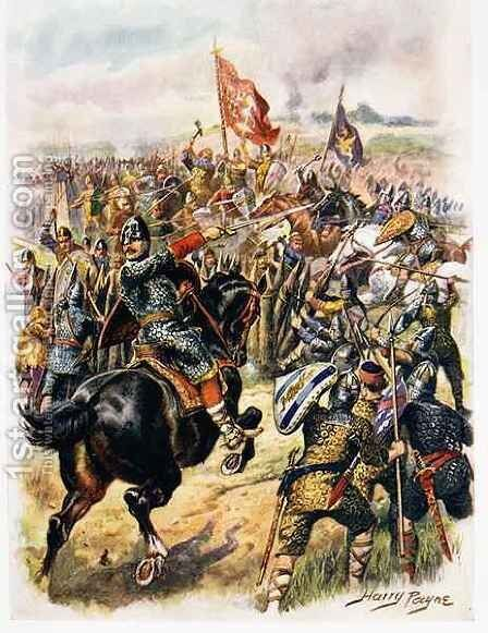 Harolds c.1022-66 Last Stand, illustration from Glorious Battles of English of English History by Major C.H. Wylly by Henry A. (Harry) Payne - Reproduction Oil Painting