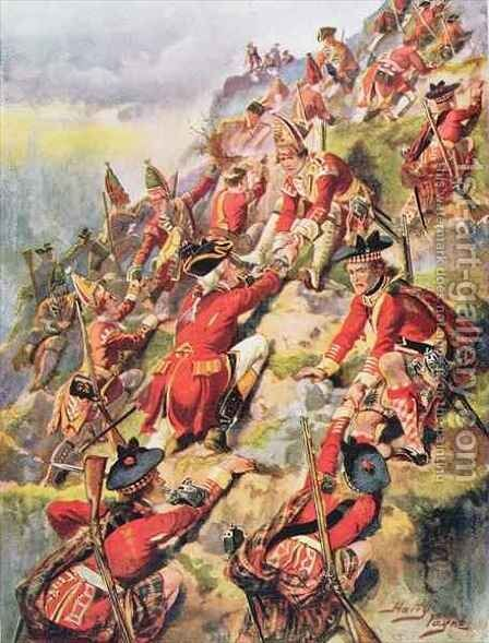 Scaling the Heights of Abraham, illustration from Glorious Battles of English History by Major C.H. Wylly, 1920s by Henry A. (Harry) Payne - Reproduction Oil Painting