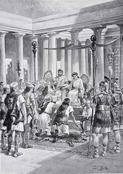 The Groans of the Britons, illustration from The History of the Nation by Henry A. (Harry) Payne - Reproduction Oil Painting
