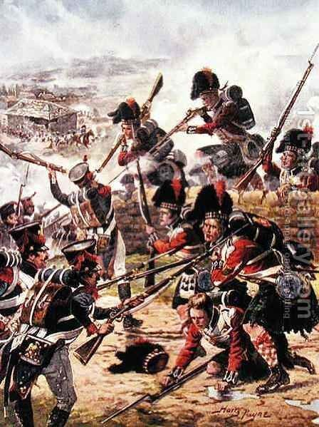 The Attack of the Black Watch, illustration from Glorious Battles of English History by Major C.H. Wylly, 1920s by Henry A. (Harry) Payne - Reproduction Oil Painting