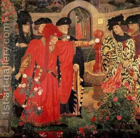 Choosing the Red and White Roses in the Temple Garden, 1910 by Henry A. (Harry) Payne - Reproduction Oil Painting