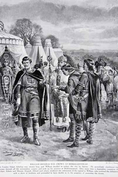 William is offered the crown at Berkhamstead, 1066, illustration from the book The History of the Nation by Henry A. (Harry) Payne - Reproduction Oil Painting