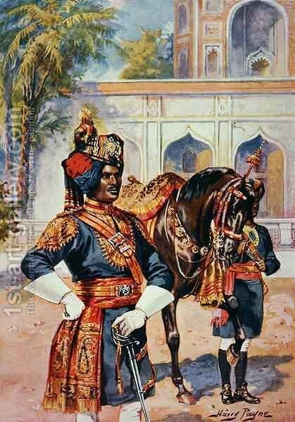 An Indian Imperial Cadet by Henry A. (Harry) Payne - Reproduction Oil Painting