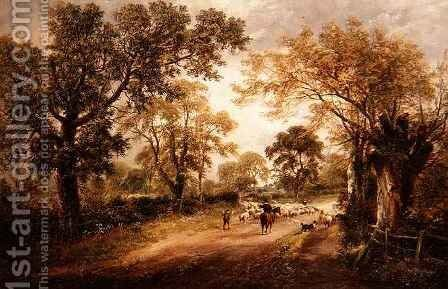 Herding Sheep by David Payne - Reproduction Oil Painting