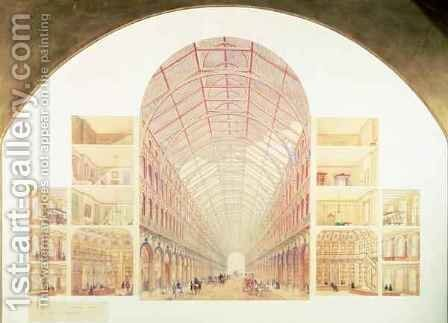 Section perspective of the proposed Great Victorian Way, c.1854 by Sir Joseph Paxton - Reproduction Oil Painting