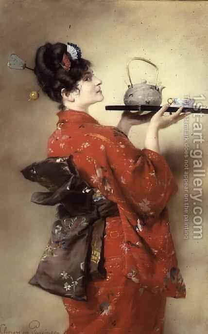 Portrait of a European Lady in Japanese Costume by Clemens von Pausinger - Reproduction Oil Painting