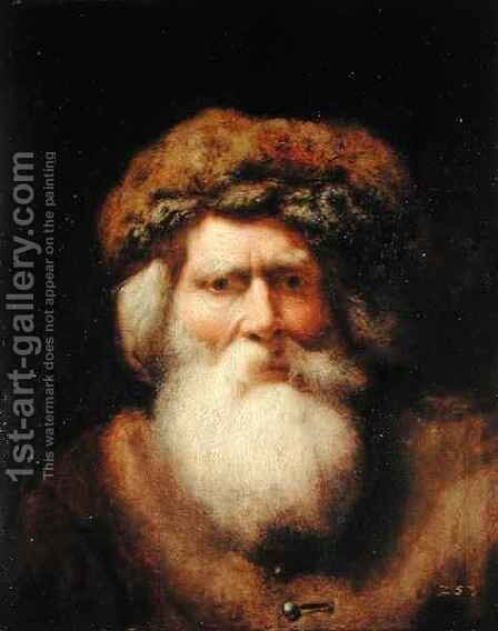 Portrait of an Old Man with Fur Hat, 1654 by Christoph Paudiss - Reproduction Oil Painting