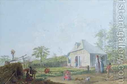 Colonial children playing outside the house in the Reunion Island, 1793 by Jean-Joseph Patu de Rosemont - Reproduction Oil Painting