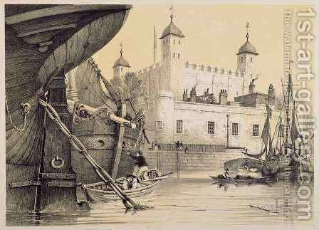 View of the Tower of London from the River Thames, c.1840 by (after) Patten, Edmund - Reproduction Oil Painting