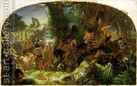 The Fairy Raid Carrying off a Changeling - Midsummer Eve, 1867 by Sir Joseph Noel Paton - Reproduction Oil Painting