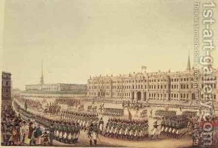 View of the Parade and Imperial Palace of St.Petersburg by Benjamin Patersson - Reproduction Oil Painting