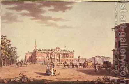 Front facade of St.Michaels Castle, St. Petersburg by Benjamin Patersson - Reproduction Oil Painting