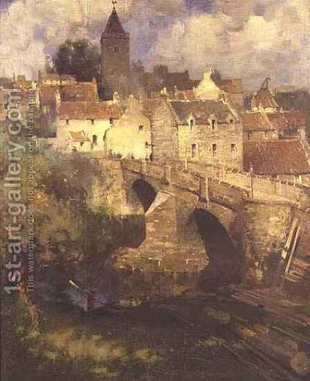 A Village in East Linton, Haddington by James Paterson - Reproduction Oil Painting