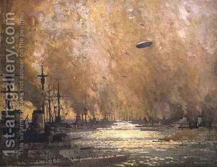 The German Fleet after Surrender, Firth of Forth, November 1918 by James Paterson - Reproduction Oil Painting