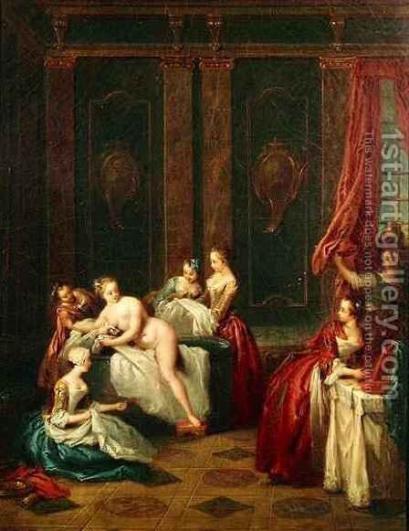 Bathroom Interior by Jean-Baptiste Joseph Pater - Reproduction Oil Painting