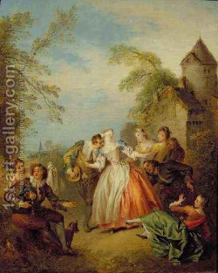 Blind Mans Buff, 1730s by Jean-Baptiste Joseph Pater - Reproduction Oil Painting
