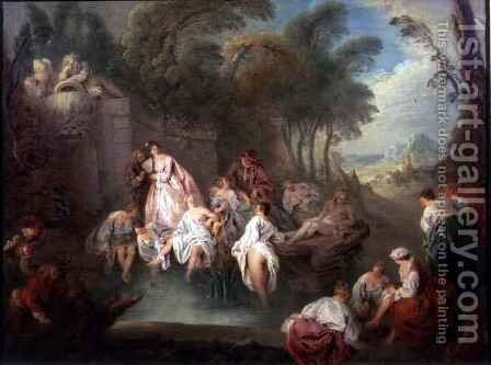 Bathing Party in a Park, 1730s by Jean-Baptiste Joseph Pater - Reproduction Oil Painting