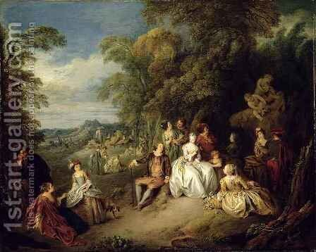 Elegant company in a park by Jean-Baptiste Joseph Pater - Reproduction Oil Painting
