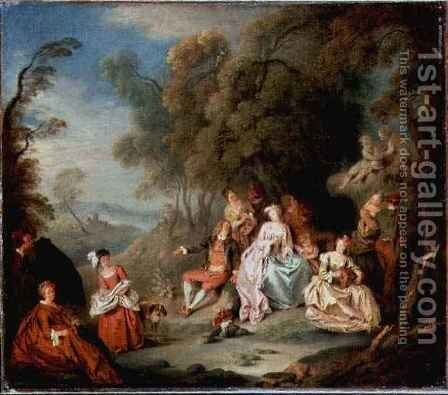 A Fete Champetre by Jean-Baptiste Joseph Pater - Reproduction Oil Painting