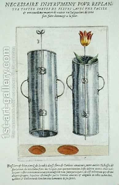 Device for re-planting flowers, from Hortus Floridus, published 1614-15 by Crispijn van de Passe - Reproduction Oil Painting