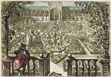 Spring Garden, from Hortus Floridus, published 1614-15 2 by Crispijn van de Passe - Reproduction Oil Painting