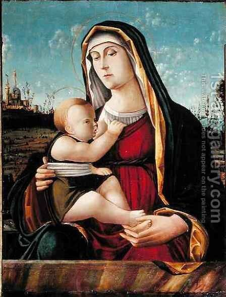Madonna and Child with Saints and a Donor, 1504 by da Venezia Pasqualina - Reproduction Oil Painting