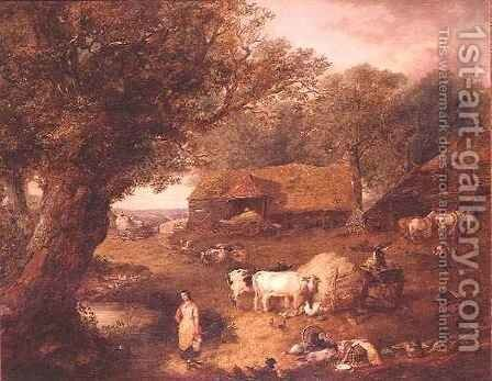 The Farmyard by (attr. to) Pasmore, John Frederick - Reproduction Oil Painting