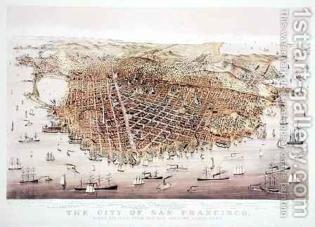 The City of San Francisco, birds-eye view from the Bay looking south-west, published by Currier and Ives by Charles Parsons - Reproduction Oil Painting