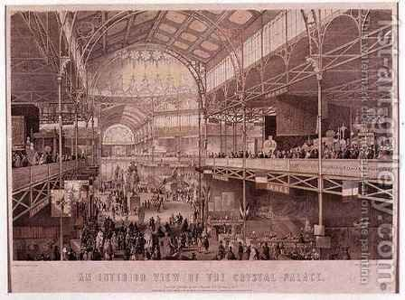 The Interior of the New York Crystal Palace, pub. by Endicott and Co., New York, 1855 by Charles Parsons - Reproduction Oil Painting