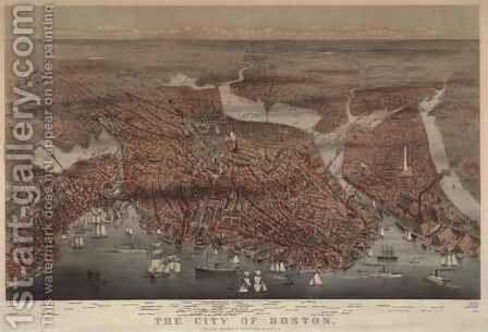 Aerial view of the city of Boston, engraved by L.W. Atwater, 1873 by Charles Parsons - Reproduction Oil Painting