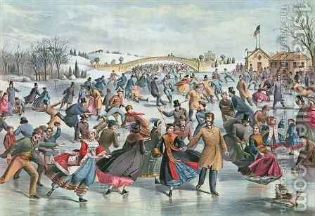 Winter on the Skating Pond in Central Park, 1862 by Charles Parsons - Reproduction Oil Painting