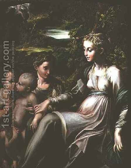 Virgin and Child, with Saints Catherine and John by Girolamo Francesco Maria Mazzola (Parmigianino) - Reproduction Oil Painting