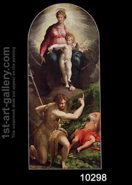 Madonna and Child with St. John and St. Jerome, 1526-27 by Girolamo Francesco Maria Mazzola (Parmigianino) - Reproduction Oil Painting
