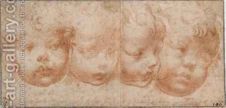 Study of Four Childrens Heads, c.1522-23 by Girolamo Francesco Maria Mazzola (Parmigianino) - Reproduction Oil Painting