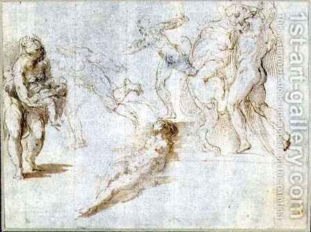Figure Studies Woman Holding a Baby; Man Pursued by Another; Nude Woman Lying on Ground; Hercules and the Nemean Lion by Girolamo Francesco Maria Mazzola (Parmigianino) - Reproduction Oil Painting