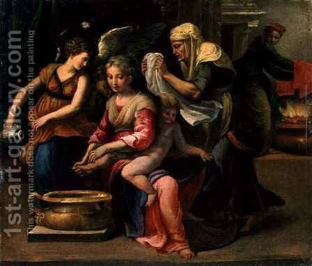 Bathing of a Baby by Girolamo Francesco Maria Mazzola (Parmigianino) - Reproduction Oil Painting