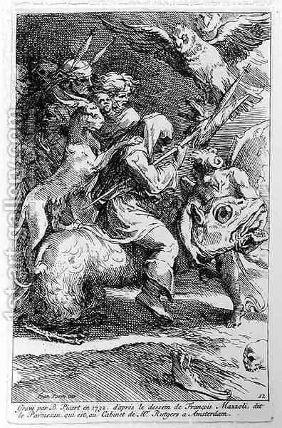 The Witches Sabbath, engraved by Bernard Picart 1673-1733 1732 by Girolamo Francesco Maria Mazzola (Parmigianino) - Reproduction Oil Painting