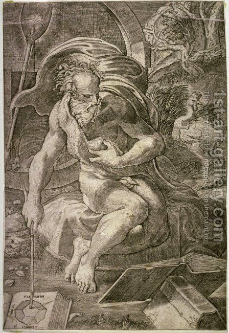Diogenes, engraved by Ugo da Carpi 1470-80-1532 by Girolamo Francesco Maria Mazzola (Parmigianino) - Reproduction Oil Painting