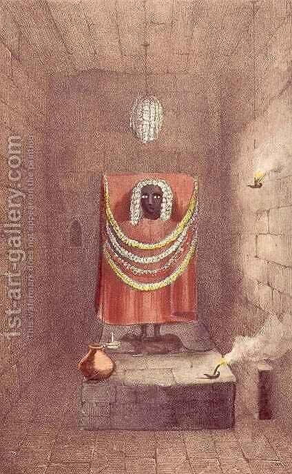 Statue of Kali in a Thugee temple, Bhagwan, early 19th century by (after) Parks, Fanny - Reproduction Oil Painting