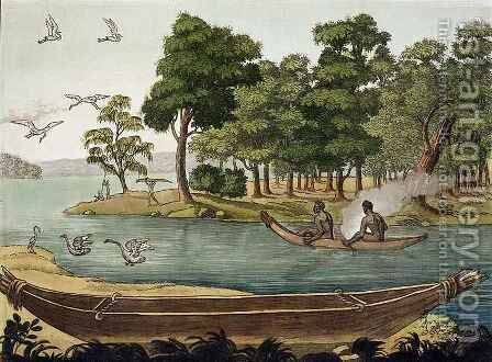 Method of Navigation in New Holland, engraved by F. Fumagalli, illustration from a collection of early 19th Century travel books by Sydney Parkinson - Reproduction Oil Painting