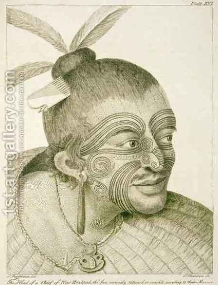 The head of a chief of New Zealand, the face curiously tataow'd, or marked according to their manner. From Journal of a Voyage to the South Seas, 1784 by Sydney Parkinson - Reproduction Oil Painting