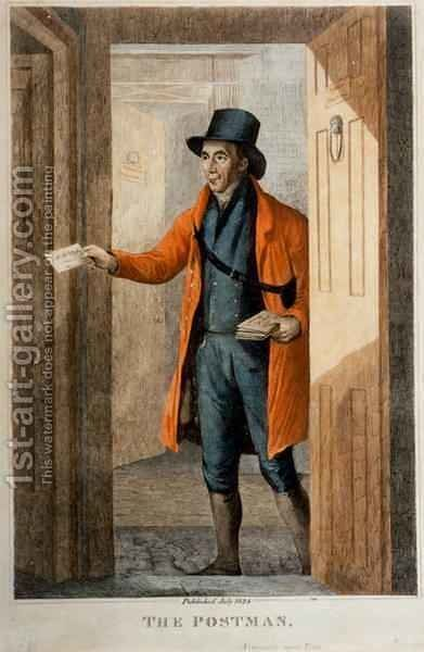 The Postman. Newcastle Upon Tyne, published July, 1824 by Henry Perlee Parker - Reproduction Oil Painting