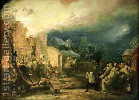 The Rescue of John Wesley from the Epworth Rectory Fire, 1840 by Henry Perlee Parker - Reproduction Oil Painting