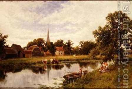 Landscape with Farmstead and cattle by Henry Hillier Parker - Reproduction Oil Painting