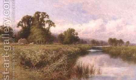 Meadow Landscape near Marlow-on-Thames by Henry Hillier Parker - Reproduction Oil Painting