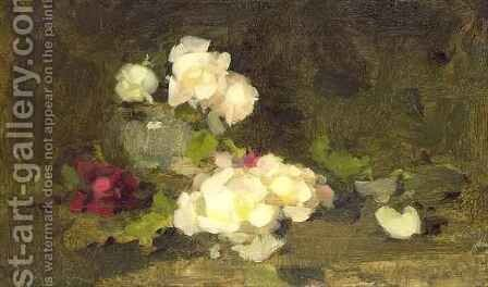 Still life of yellow and red roses in a green vase by James Stuart Park - Reproduction Oil Painting