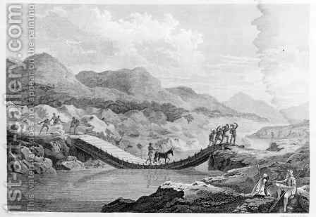 Self portrait sketching the bridge on the Bafing River, Senegal, from Travels in the Interior Districts of Africa, published 1799 by (after) Park, Mungo - Reproduction Oil Painting