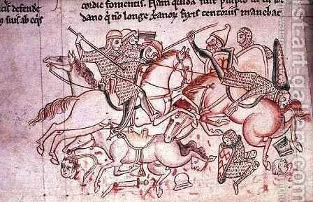 Ms 16 Roll 178 Battle of the Christians and Saracens at Damietta, from the Historia Major, c.1218 by Matthew Paris - Reproduction Oil Painting